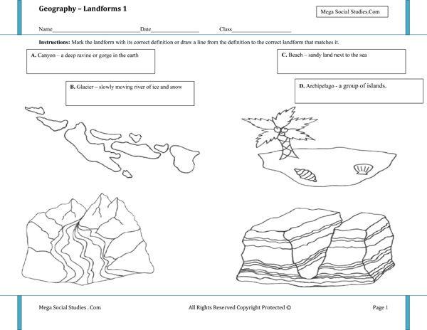 printable landform worksheets landforms for kids canyon glacier beach archipelago best. Black Bedroom Furniture Sets. Home Design Ideas