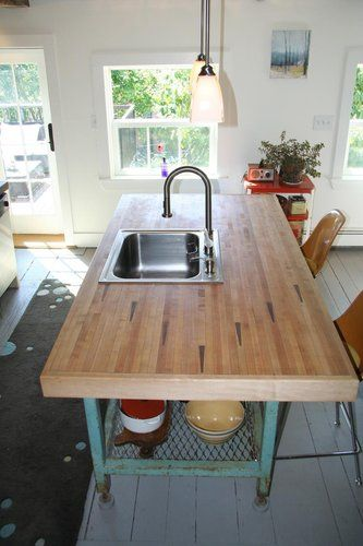 Reclaimed Bowling Lane Kitchen Sink Counter Top Awesome And So