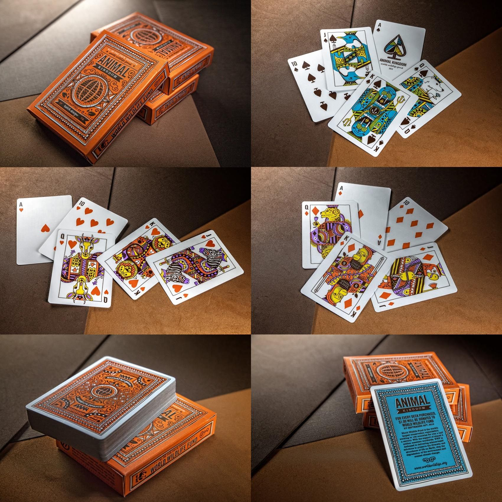 For every deck of Animal Kingdom Playing Cards purchased between today and September 30th, 2014, $1.00 will be donated to World Wildlife Fund. Void in MA, AL, ME, and elsewhere prohibited.  Illustrated by Hatch Design.