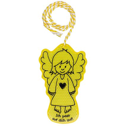 Guardian angel reflector badge for your kid to hang on the back of his/her school bag.