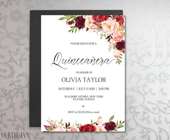 Quinceanera Invitation Template Rustic Diy Printable 15 Birthday