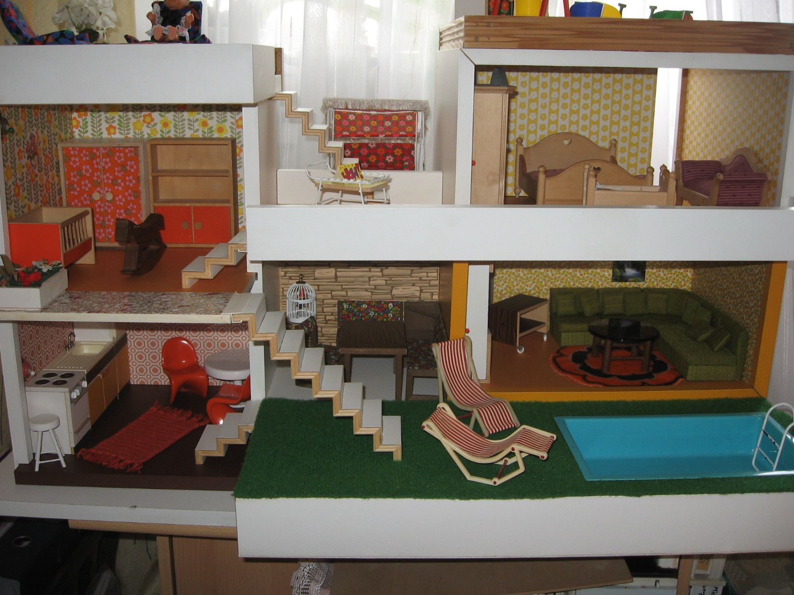Kitchen Dollhouse Furniture Bungalow Bodo Hennig 70s Dollhouse Dolls Nest Doll Kitchen Ebay
