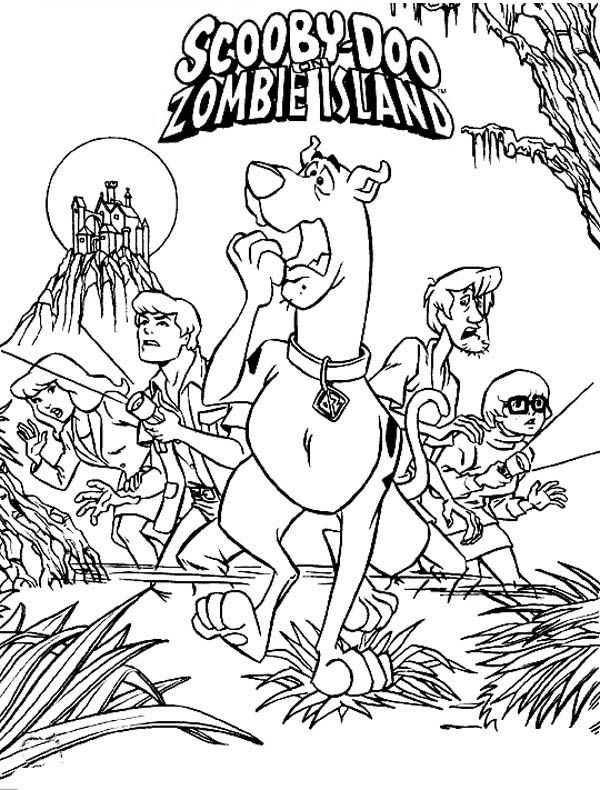 scooby doo team adventure in zombie island coloring page free - Scooby Doo Colouring Pictures To Print