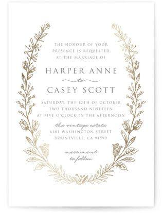 Rustic Foil-Pressed Wedding Invitations - Rustic Wedding Invitations #rusticweddings #rusticweddinginvitations #rusticweddinginspiration #botanicalweddinginvitations