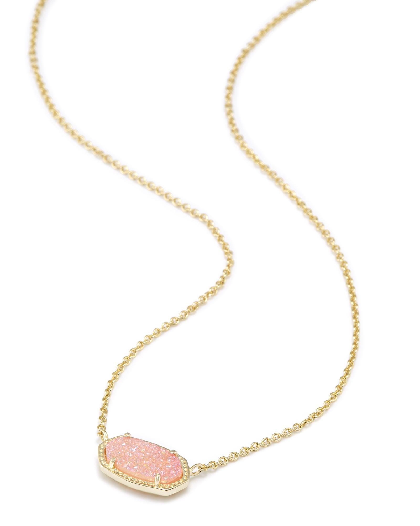 Elisa Pendant Necklace In Light Pink Drusy Goldnecklace Kendra Scott Necklace Elisa Kendra Scott Necklace Pink Jewelry