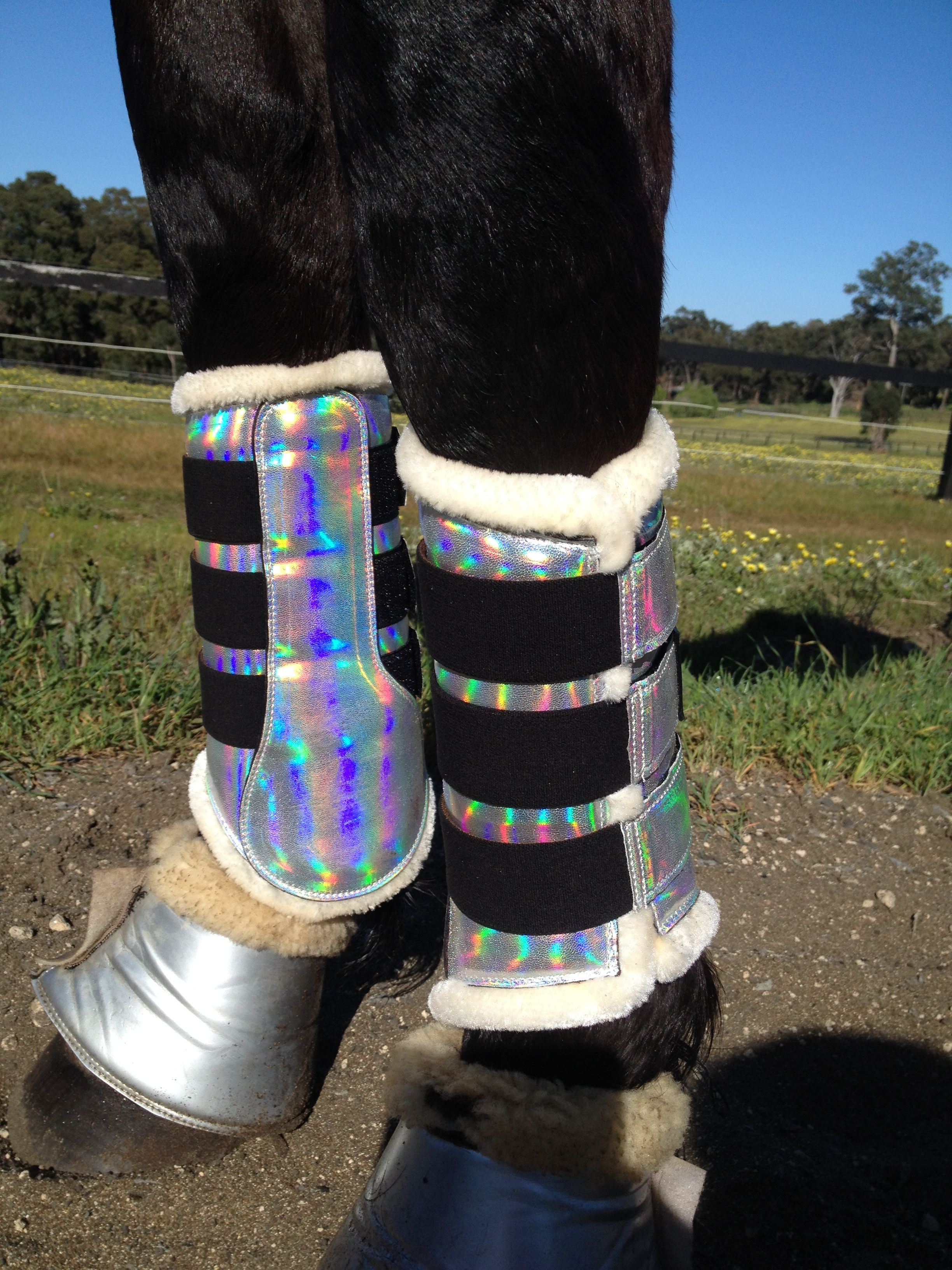 BLACK PATENT SPARKLY SILVER BRUSHING TENDON DRESSAGE /& BELL BOOTS NEOPRENE LINED