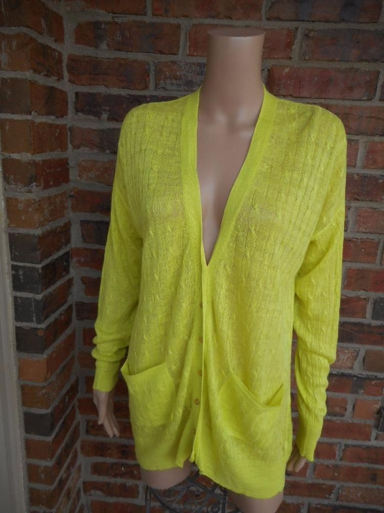 J CREW 100% Linen Cable Knit Cardigan M Tunic Sweater 77253 Top ...