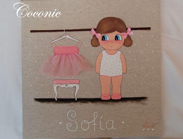 Coconic cuadro infantil pintado a mano y personalizado de - Cuadros bailarinas infantiles ...