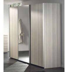 Armoire coloris fr ne gris 3 portes coulissantes avec for 3 portes coulissantes