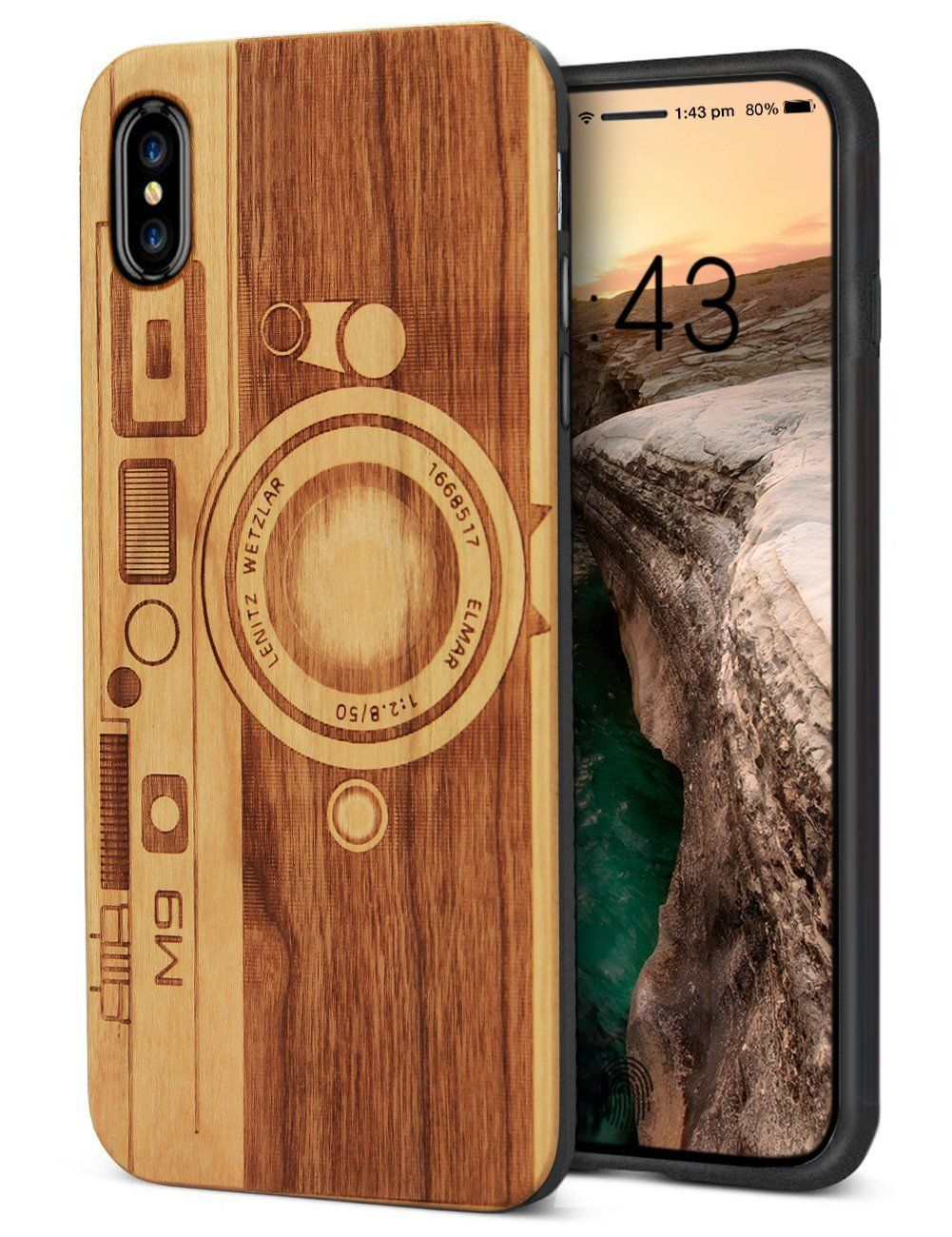 Unique Iphone X Case Handmade Solid Wood Engraving Elephant Case