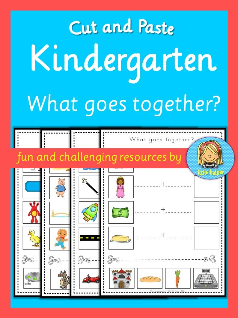 Kindergarten cut and paste activity What goes together? | Kid Stuff ...