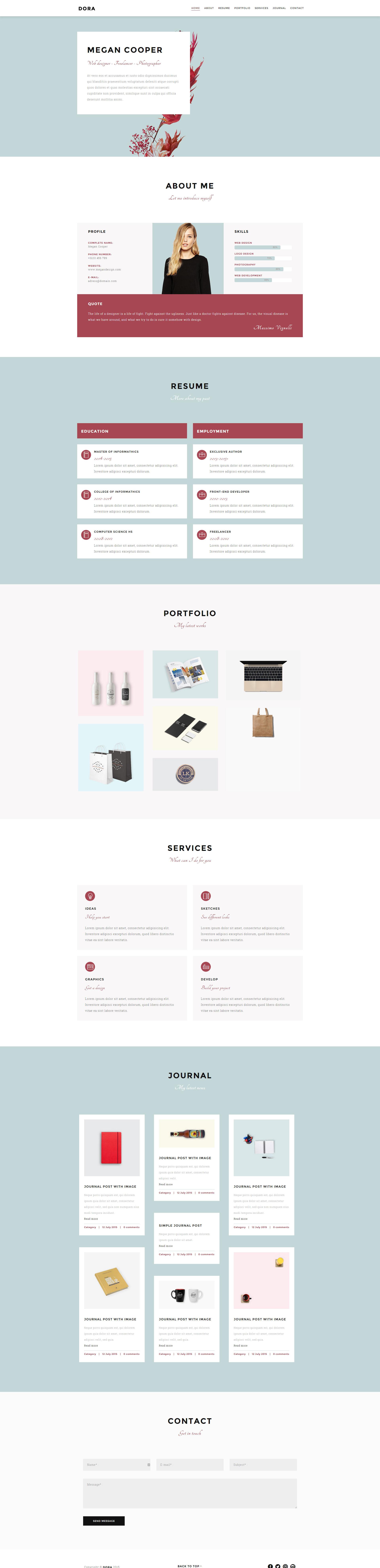 Graphista OnePage Creative Portfolio Personal Portfolio - Digital portfolio template