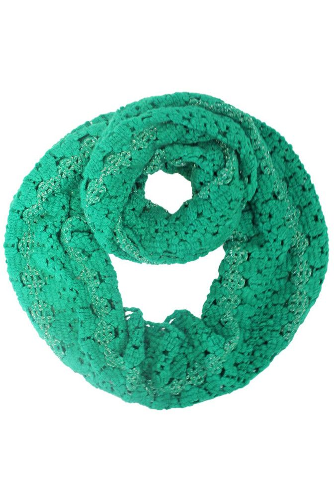 Knit Circle Scarf With Metallic Accent