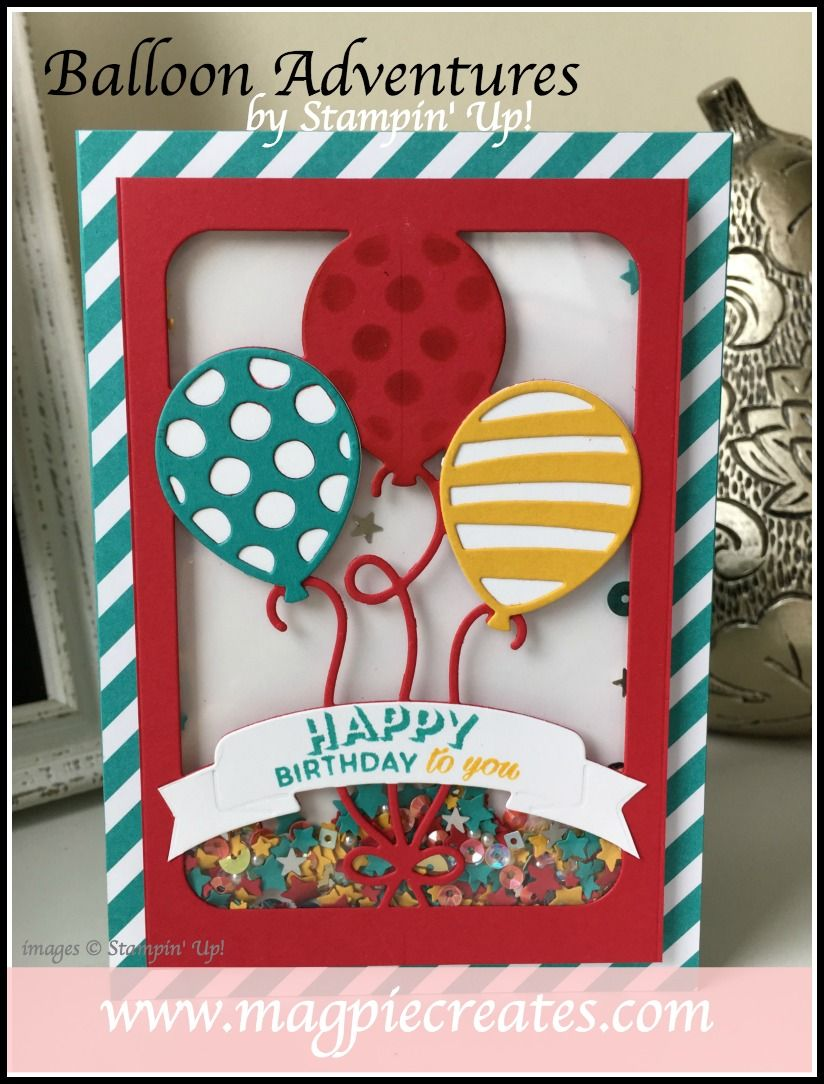 Shaker card using Stampin' Up!'s Balloon Pop-up Thinlit Die.  Card by Sharlene Meyer from www.magpiecreates.com #magpiecreates #stampinup