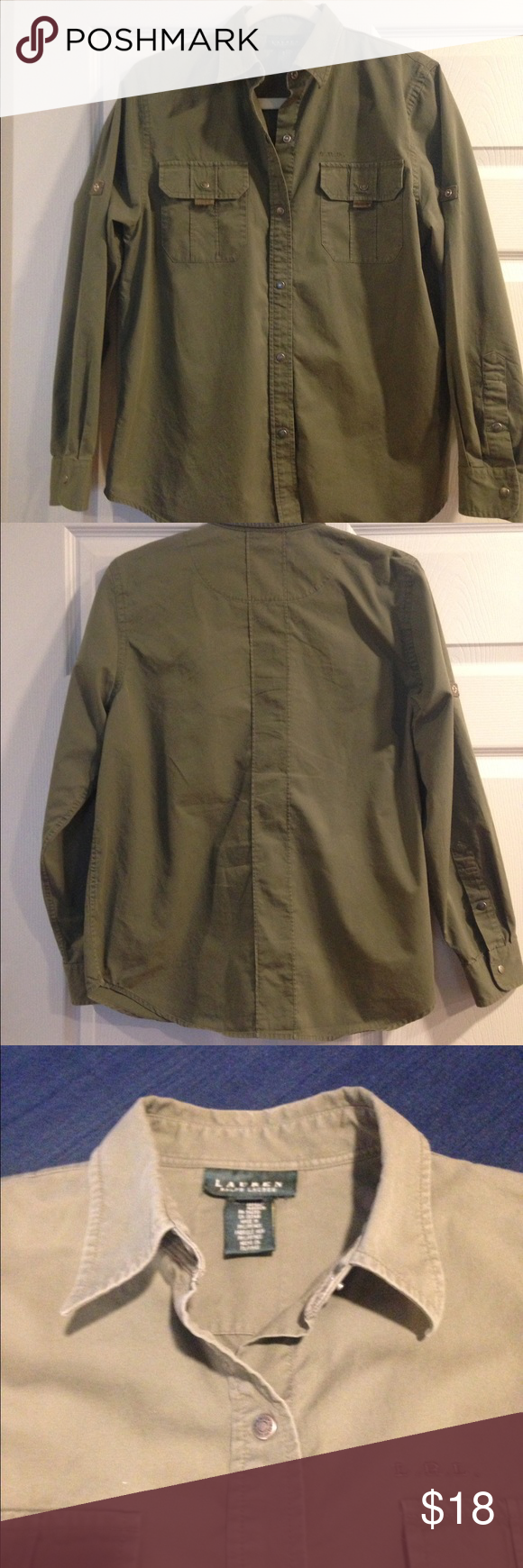 RALPH LAUREN BUTTON DOWN SHIRT!!! Really great Ralph Lauren button down shirt!! Shirt is olive green and can become short sleeve with button up cuff!! Really comfortable....great for layering!!! Ralph Lauren Tops Button Down Shirts