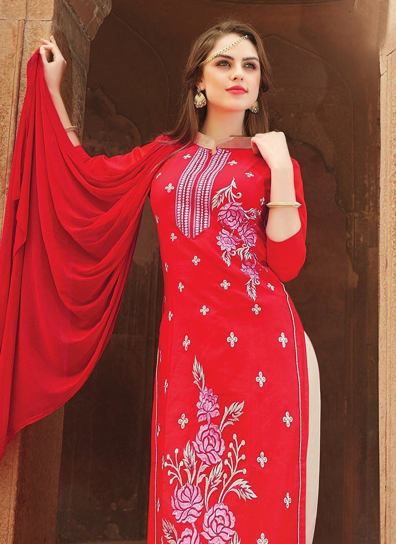 Red Blended Cotton Churidar Suit