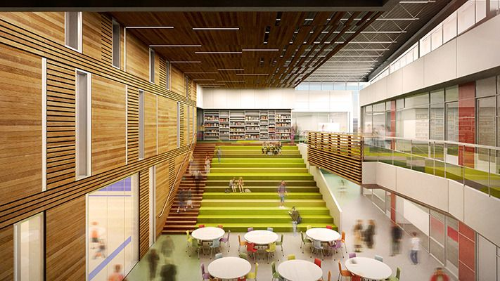 The focal point of the new roosevelt high school which - Interior design for school buildings ...