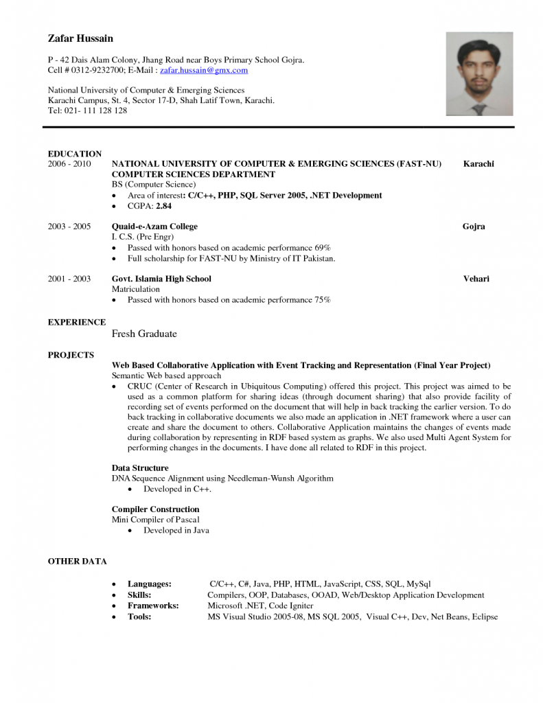 Free Examples Of Resumes Download Resume Sample For Fresh Graduate Accounting Free Job