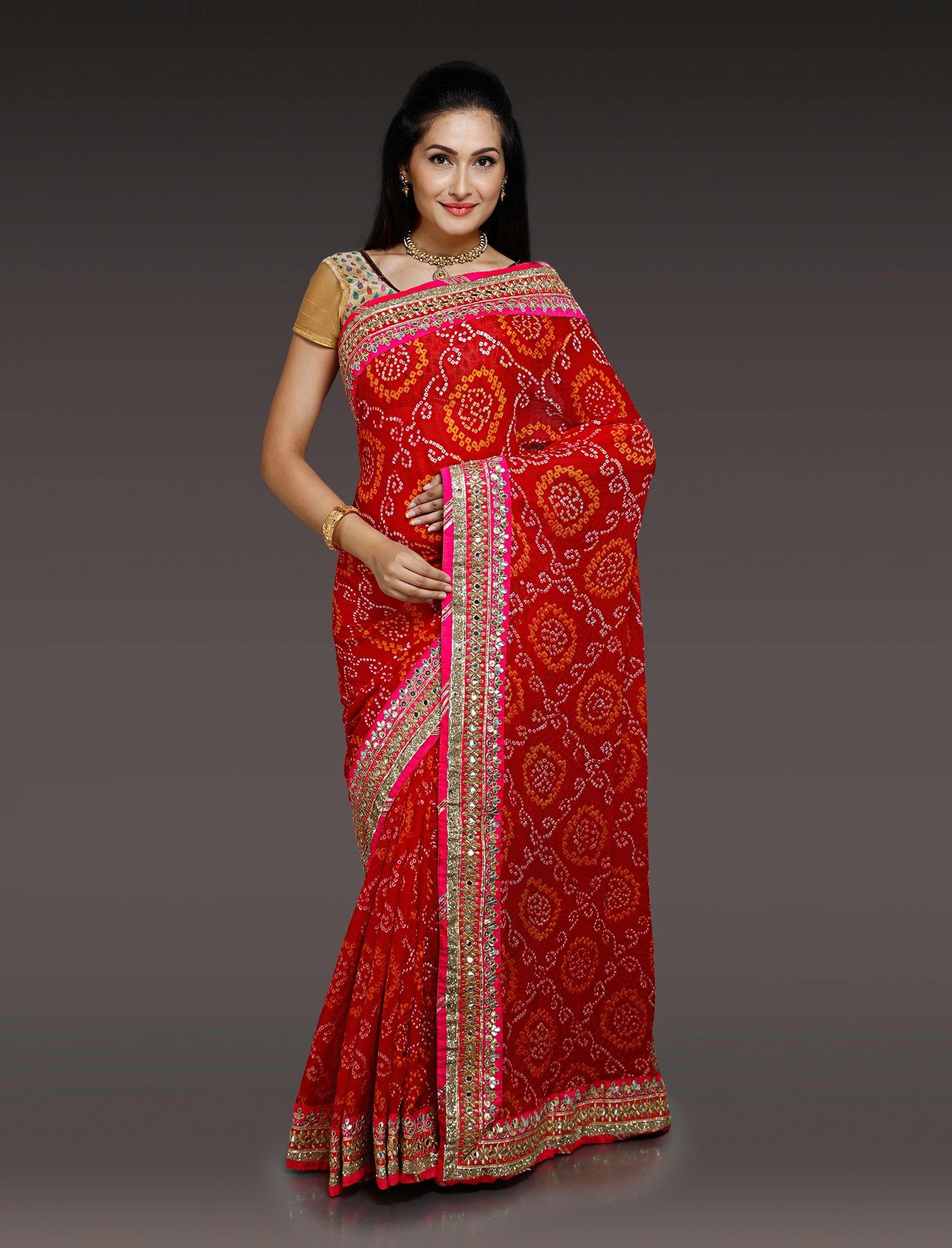 Silk saree below 2000 smallprintbandhanisilksareeinredg   styles