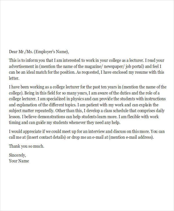 job application letters for teacher free sample example format