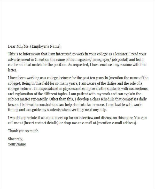 application letter for college instructor position 28 images sle