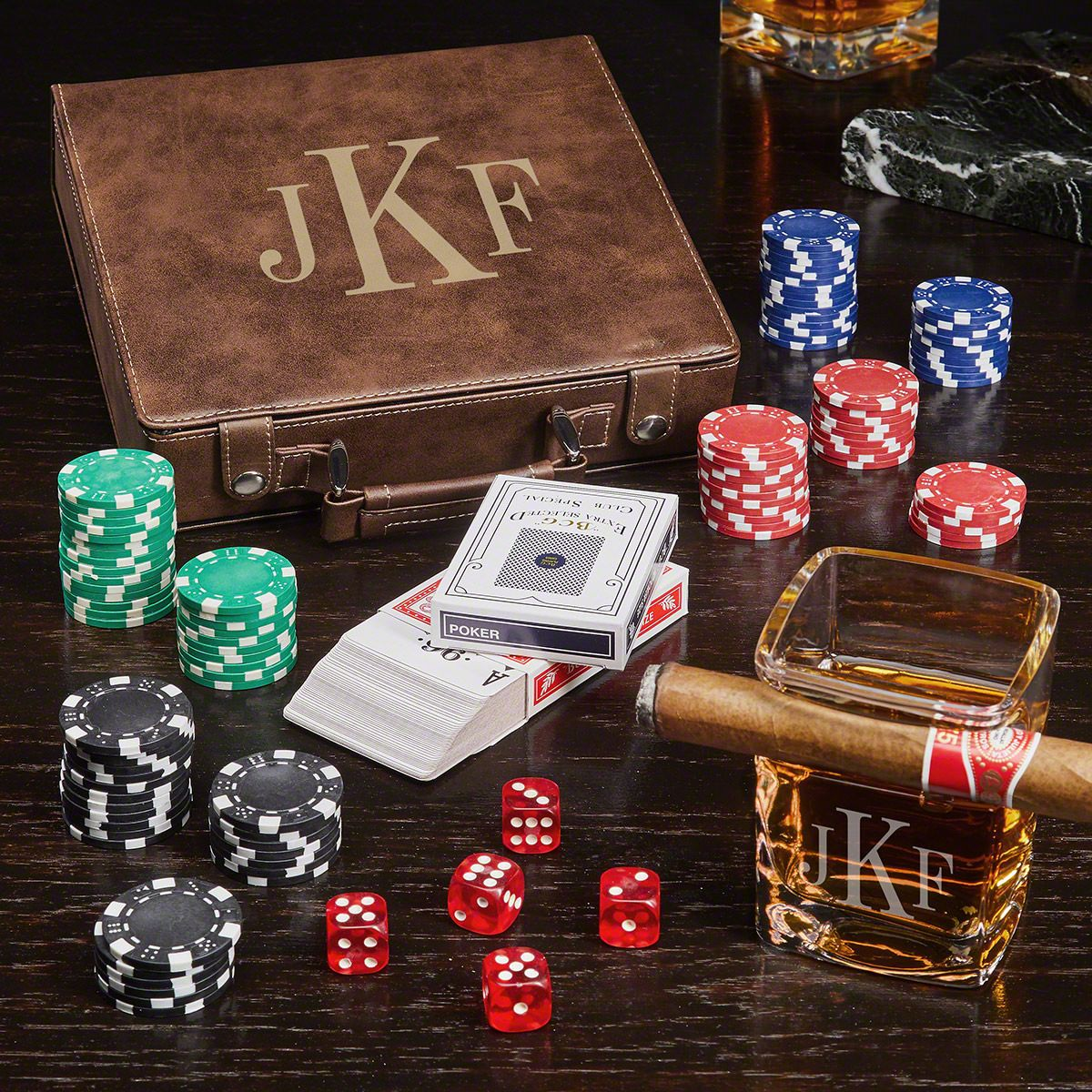 Classic Monogram Personalized Poker Chip Case Gift Set
