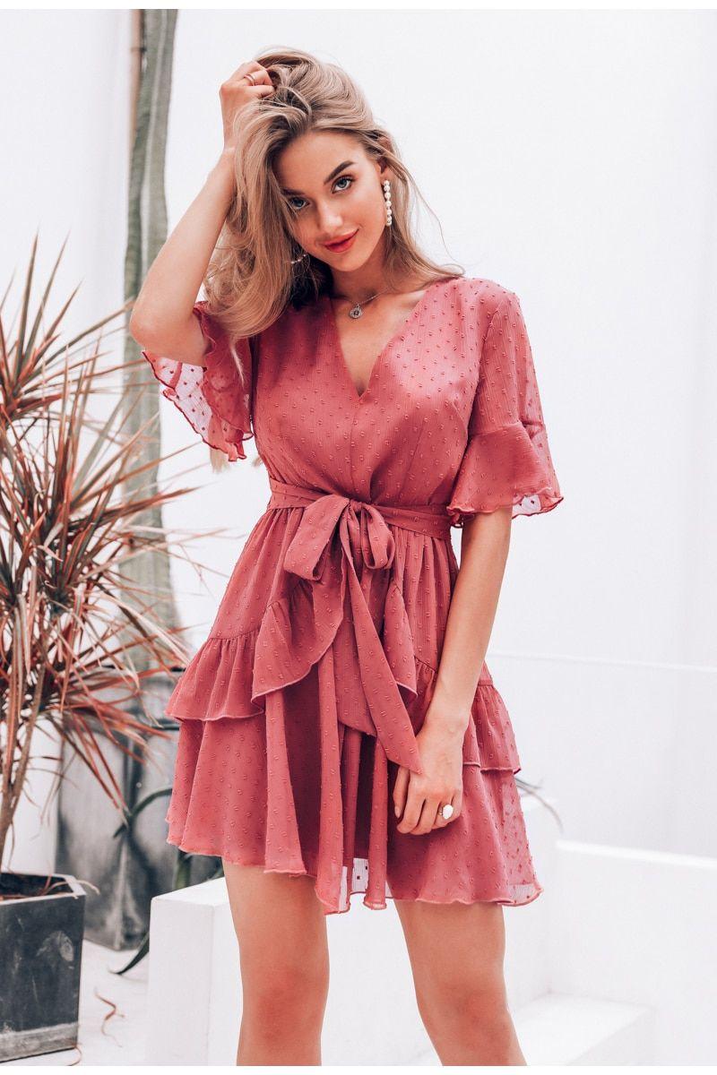 e1f0776f0537b Sexy V-Neck Polka Dot Ruffle Chiffon Dress JKP1443 in 2019   DRESS ...