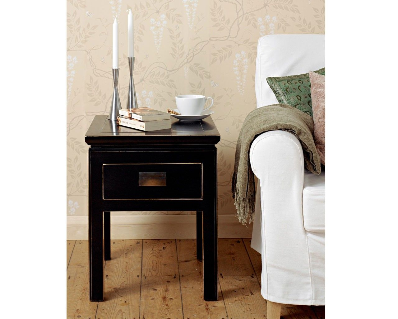 Black side table with drawer - Shanxi Black Side Table With Drawer