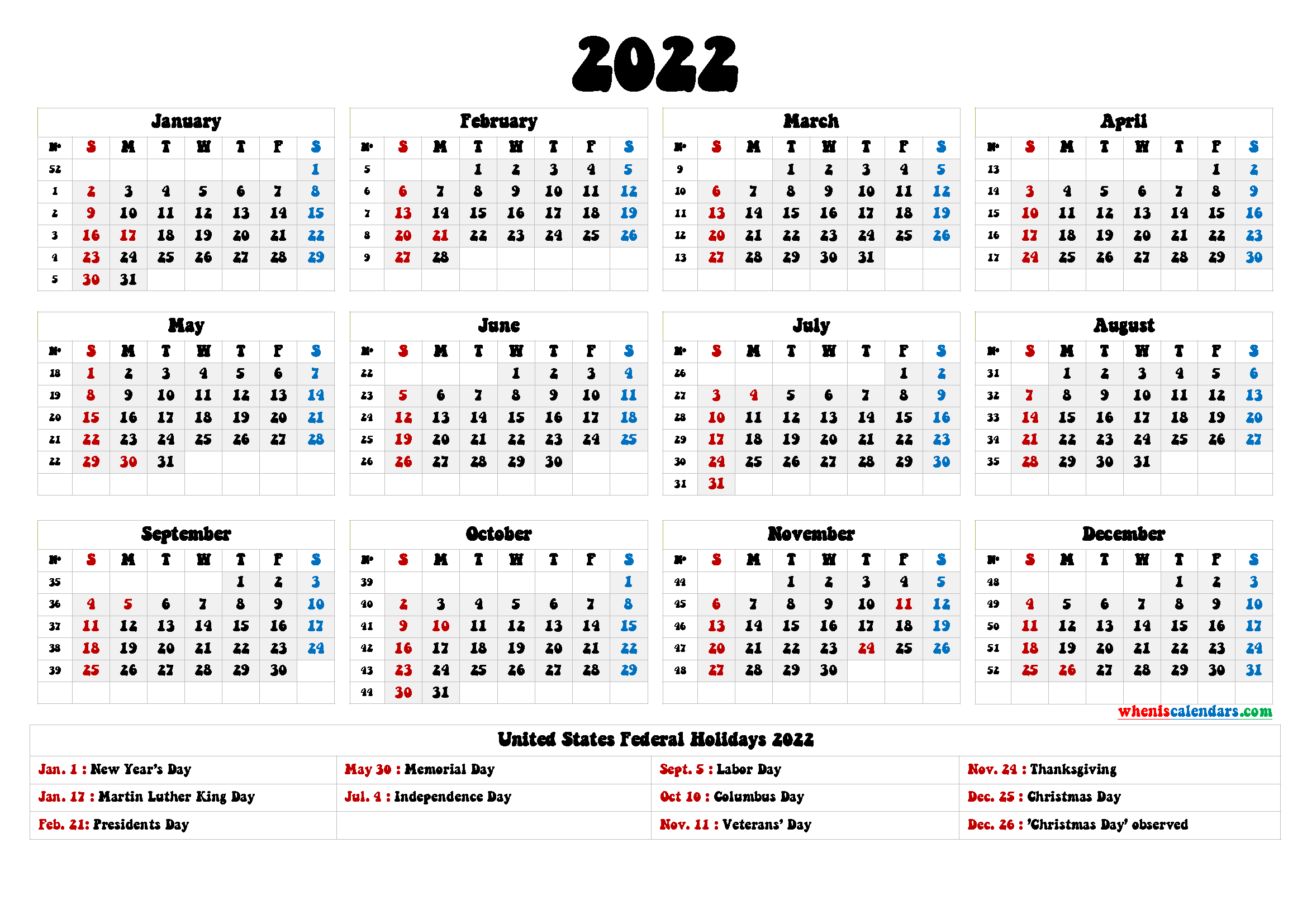 20+ 2022 Holidays - Free Download Printable Calendar ...