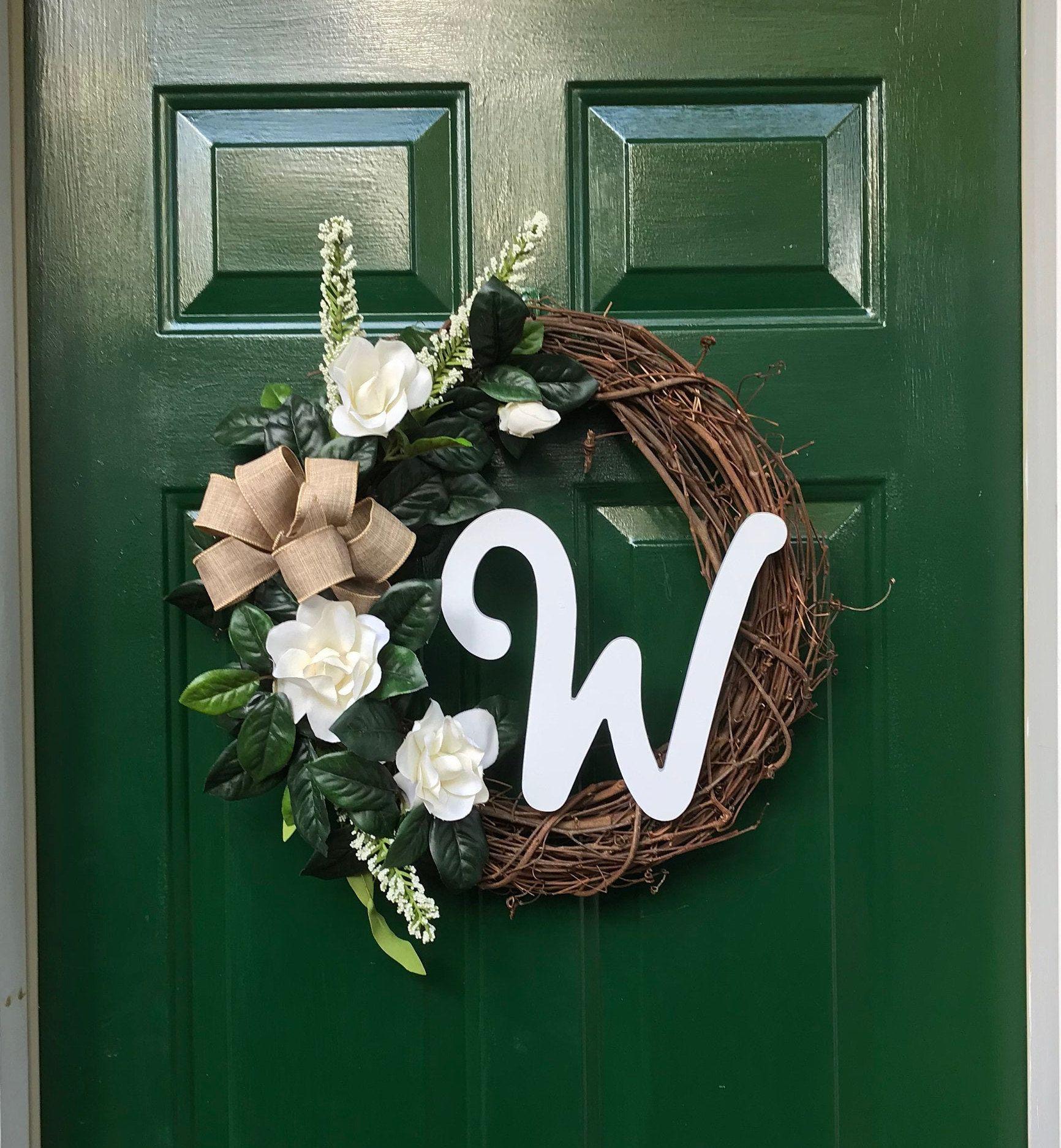 Photo of Classic Magnolia Monogram Vine Wreath – YOUR personalized front door decor front door wreath monogram Magnolia wreath all year round decor