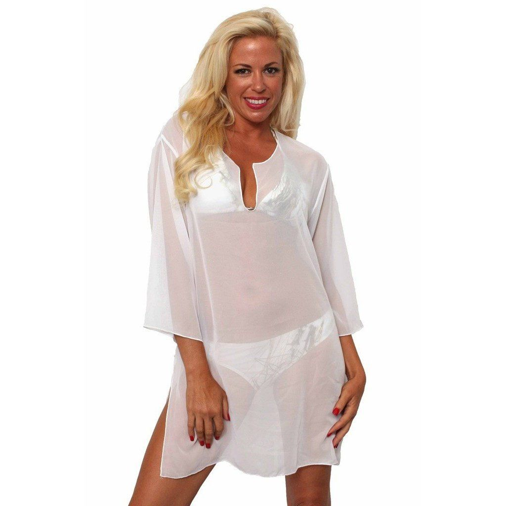 361c50c53a Women s Chiffon Long Sleeve Swimwear Cover-up Beach Dress Made in the USA