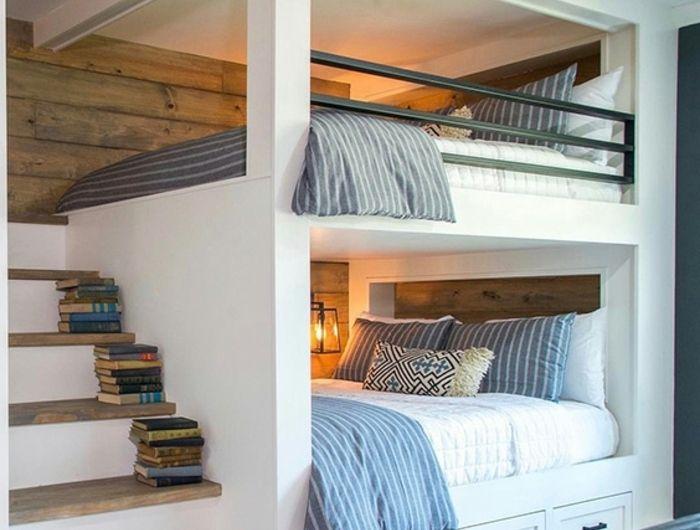 1001 Jolies Idees Comment Amenager Votre Chambre Mezzanine Chambres Avec Lits Superposes Lit Mezzanine 2 Places Idees De Lit