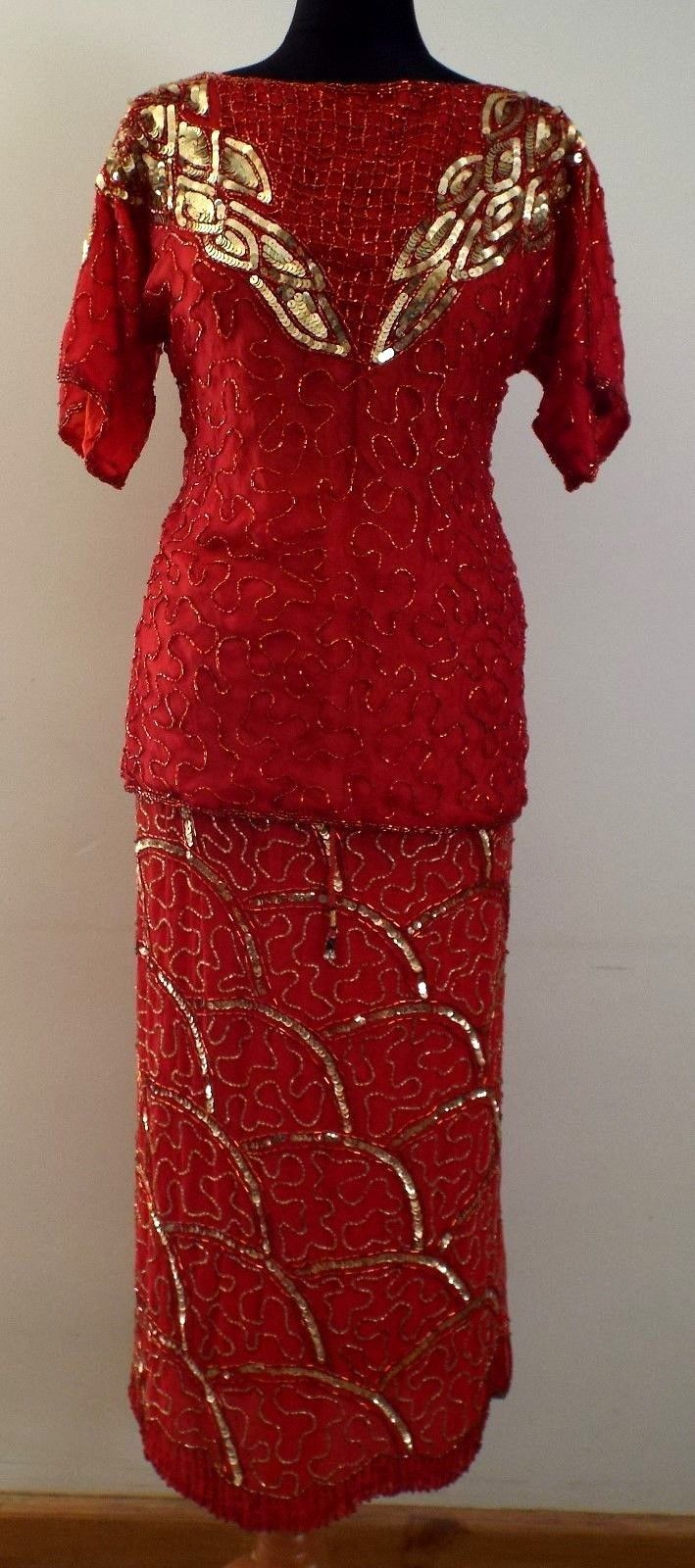 Vtg red beaded sequin piece evening dresscostumes s s