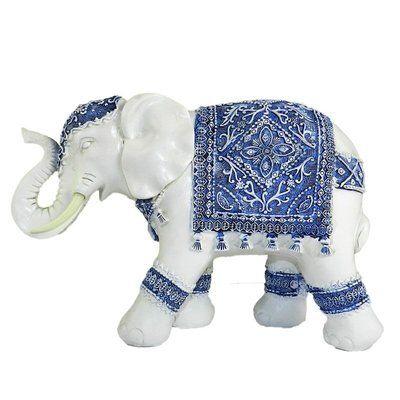 "Bloomsbury Market Fanette Resin Elephant Figurine Size: 9.8"" H x 14"" W x 5"" D, Orientation: Left"