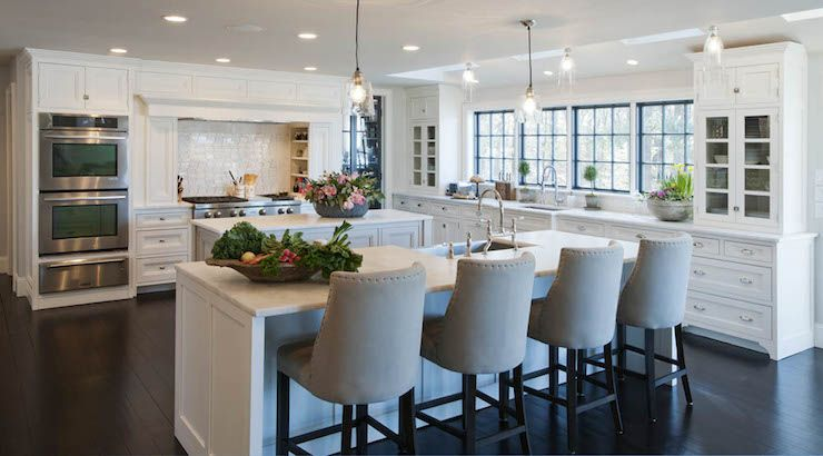 White Kitchen With 2 Islands Crown Point Cabinetry Kitchen Design Crown Point Cabinetry Kitchen Island With Cooktop