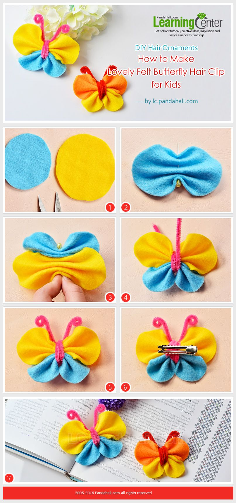 DIY Hair Ornaments - How to Make Lovely Felt Butterfly Hair Clip for Kids  from LC.Pandahall.com 6b119d6a32
