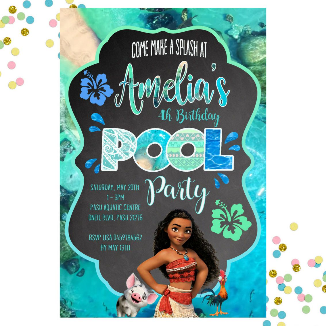 Moana Pool Party Invitation