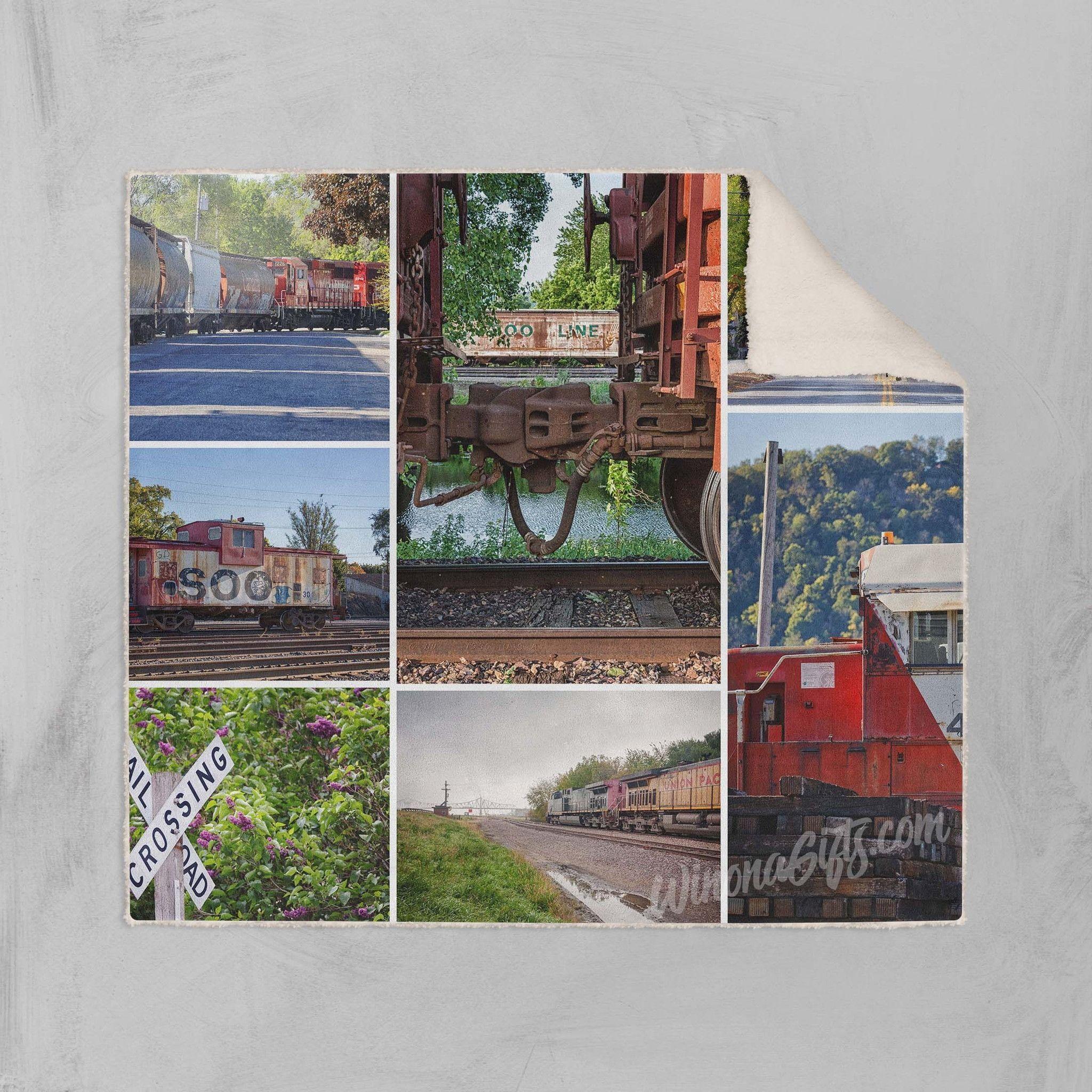 Fleece Sherpa Blanket Trains Collage Winona Minnesota In 2018