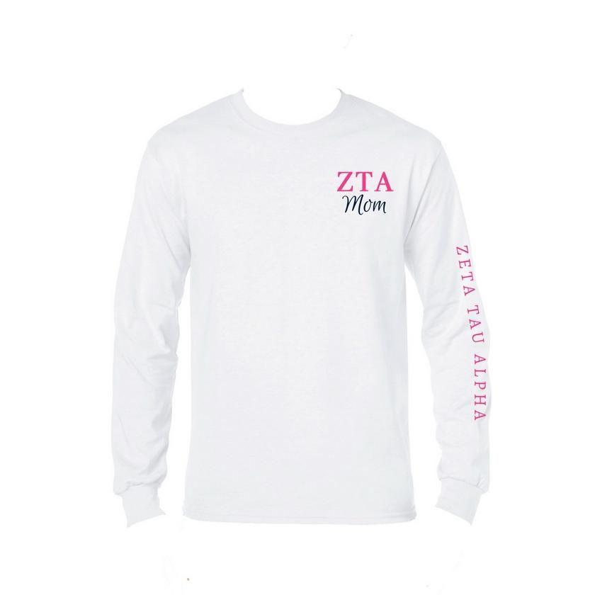 Zeta Tau Alpha Mom Long Sleeve Shirt  Greek Letters  Mom