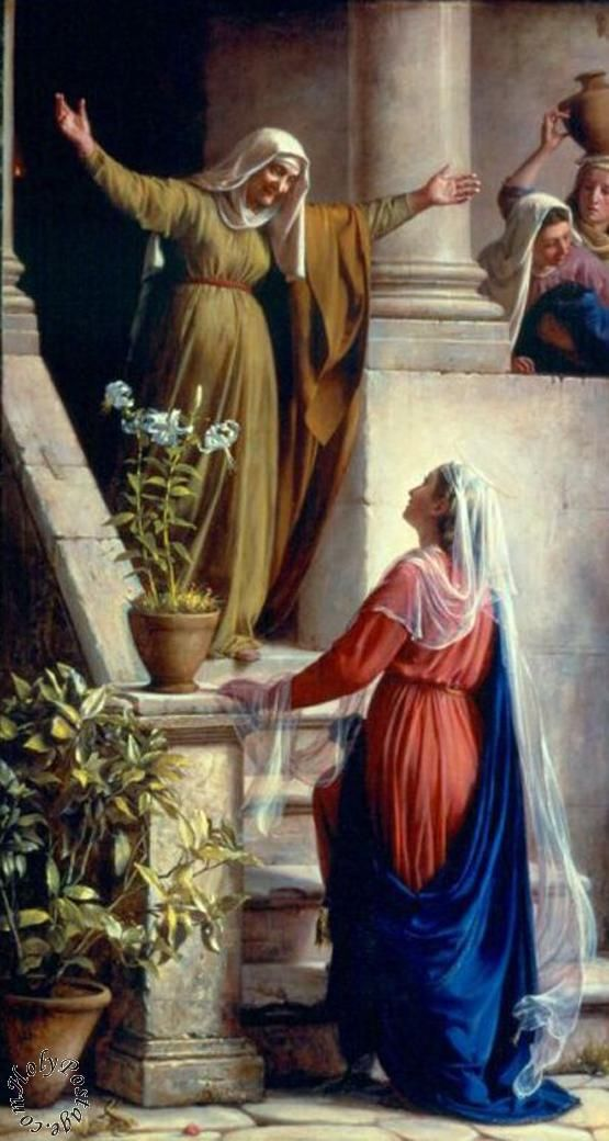 Elizabeth greeting Mary otherwise known as the visitation, the second joyful mystery of the rosary.