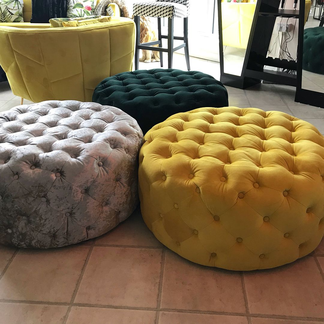 Large Crushed Velvet Buttoned Pouffes Honestyling Pouffe Seating Velvet Living Room Crushed Velvet Living Room Ottoman In Living Room