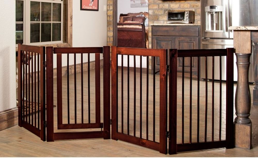 Pet Gate Dog New Folding Walk Thru Wide Wood Baby Safety