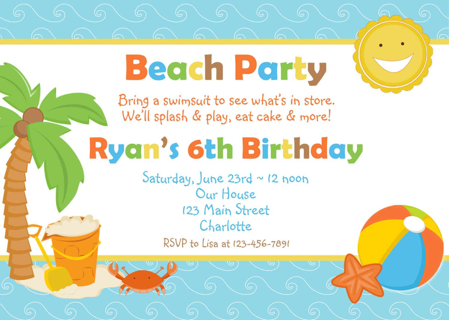beach birthday party invitation -- pool party -- beach party, Party invitations