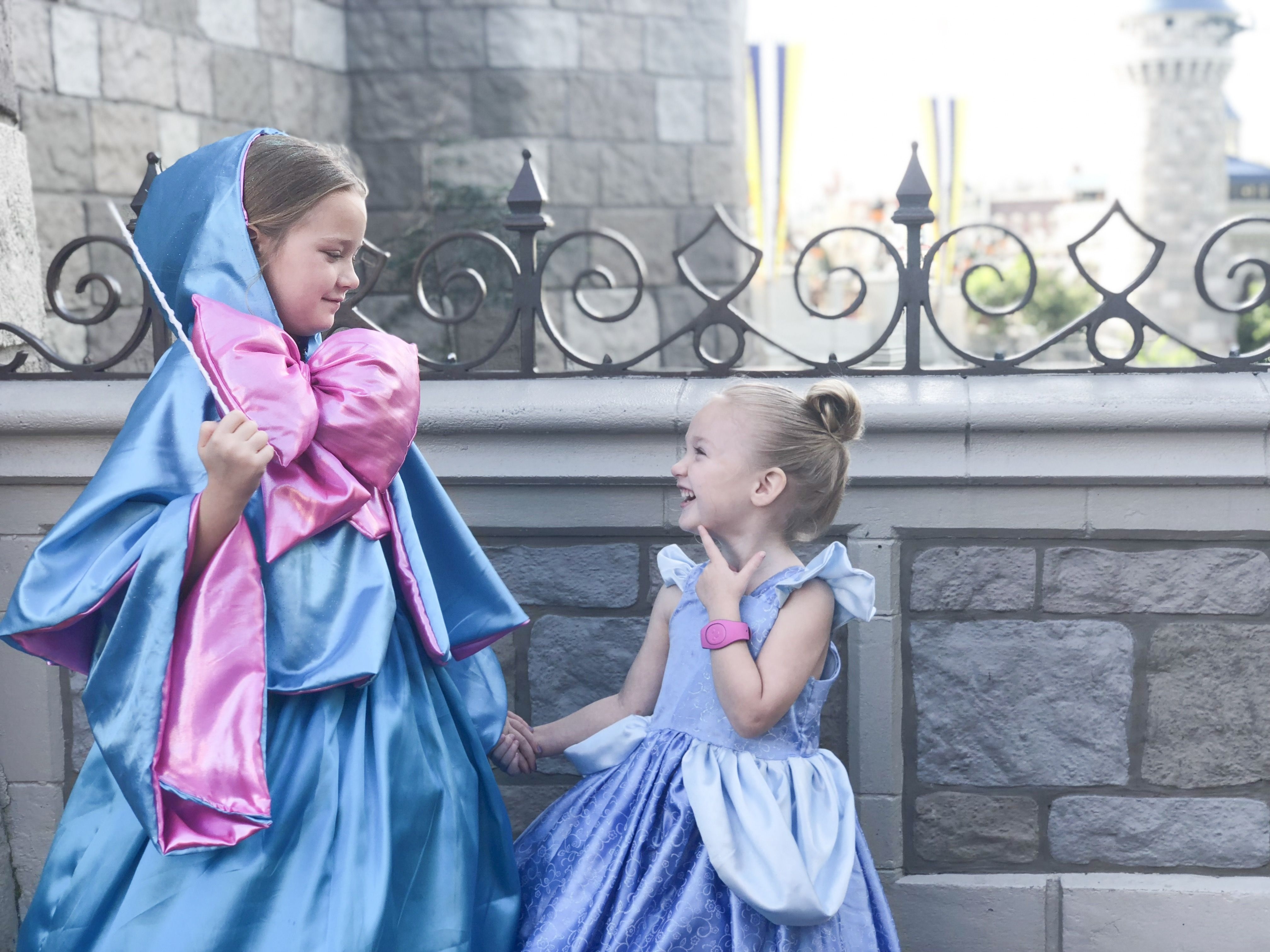 Fairy Godmother And Cinderella Kids Cosplay At Magic Kingdom