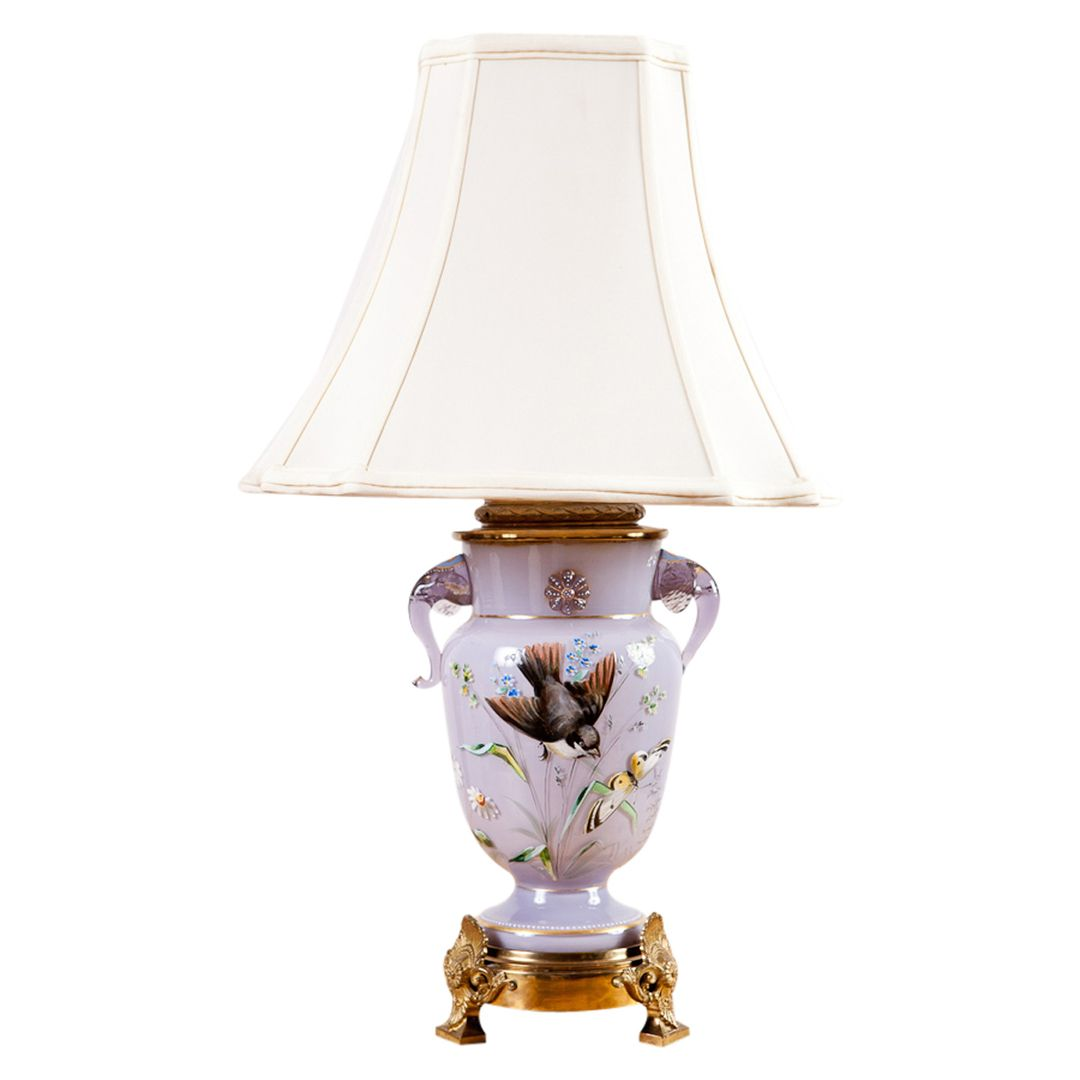 Lilac glass table lamp with elephant head handles antique lilac glass table lamp with elephant head handles geotapseo Image collections