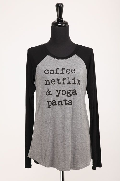 Coffee, Netflix & Yoga Baseball Tee
