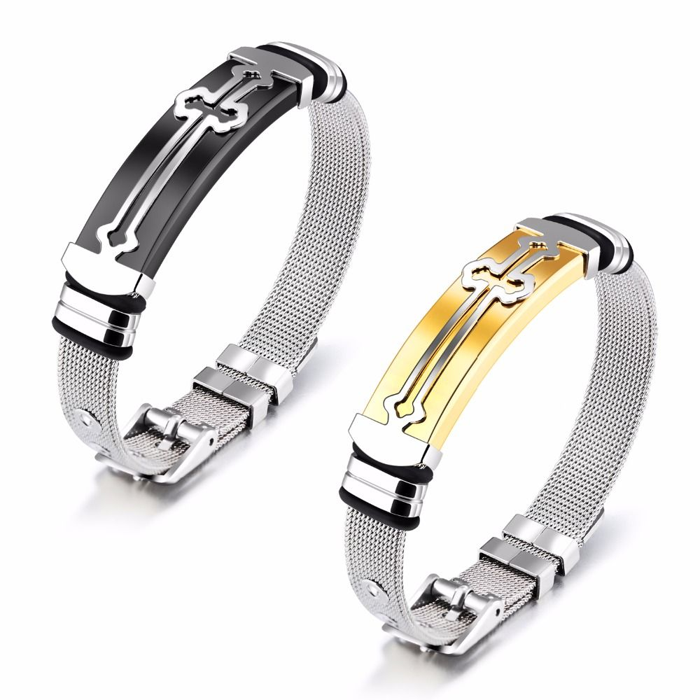 Jhsl brand punk men bangles luxury cross male statement bracelet