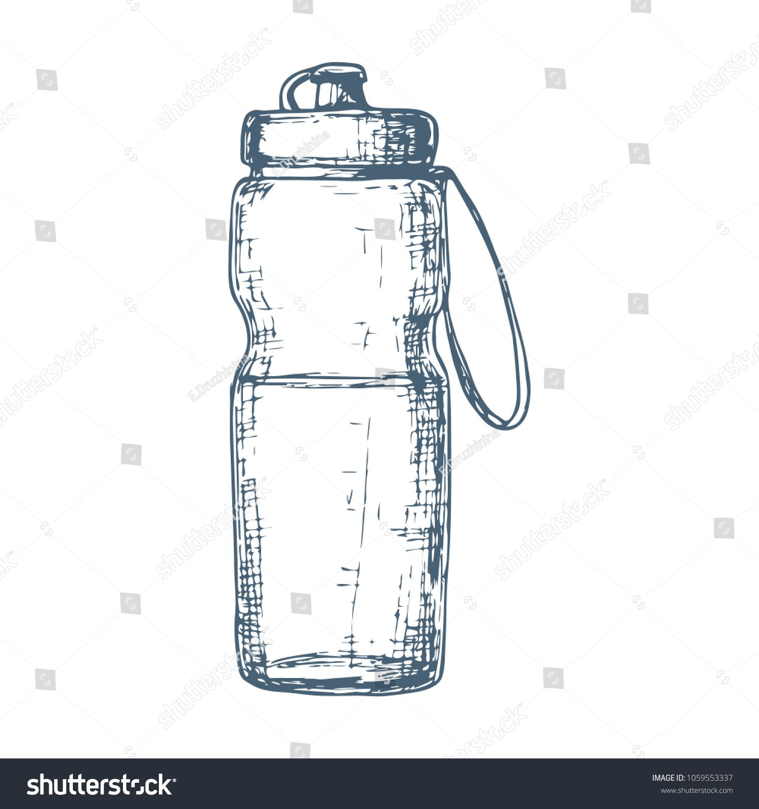 Fitness water bottle, cartoon illustration of gym equipment for home exercise. #Ad , #sponsored, #bo...
