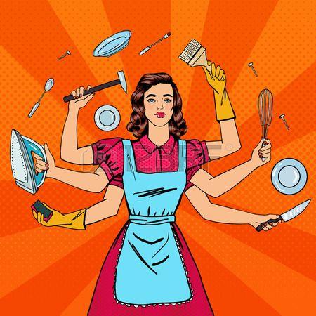 El Ama De Casa Con éxito Mujer Multitarea La Esposa Perfecta Arte Pop Ilustración Vectorial Arte Pop Ama De Casa Ilustración Vectorial