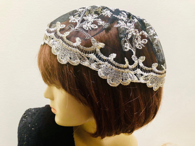 Gold And Black Lace Chapel Cap Lace Veil Black Lace Doily Etsy Lace Veils Lace Doilies Lace Caps
